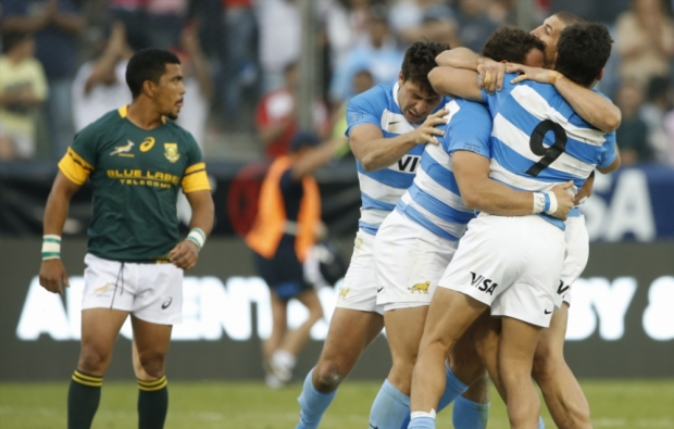 Argentina celebrate their 26-24 win