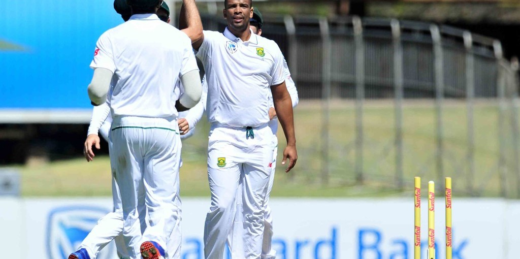 Vernon Philander celebrates the wicket of Mitchell Santner