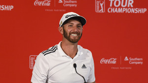 ATLANTA, GA - SEPTEMBER 21:  Dustin Johnson smiles during a press conference at practice for the TOUR Championship, the final event of the FedExCup Playoffs, at East Lake Golf Club on September 21, 2016 in Atlanta, Georgia. (Photo by Keyur Khamar/PGA TOUR)