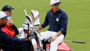 CHASKA, MN - SEPTEMBER 28: Rickie Fowler of the United States sits on a cart during practice prior to the 2016 Ryder Cup at Hazeltine National Golf Club on September 28, 2016 in Chaska, Minnesota.  (Photo by Sam Greenwood/Getty Images)