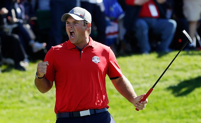 CHASKA, MN - SEPTEMBER 30: Patrick Reed of the United States reacts after making a putt on the 16th green to end the match during morning foursome matches of the 2016 Ryder Cup at Hazeltine National Golf Club on September 30, 2016 in Chaska, Minnesota.  (Photo by Jamie Squire/Getty Images)