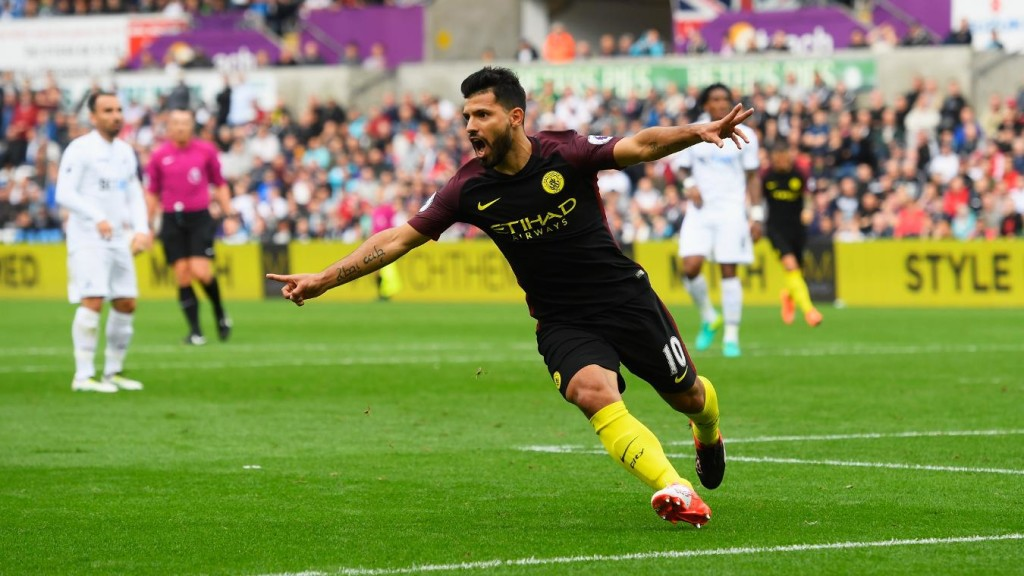 Aguero hits brace as City win
