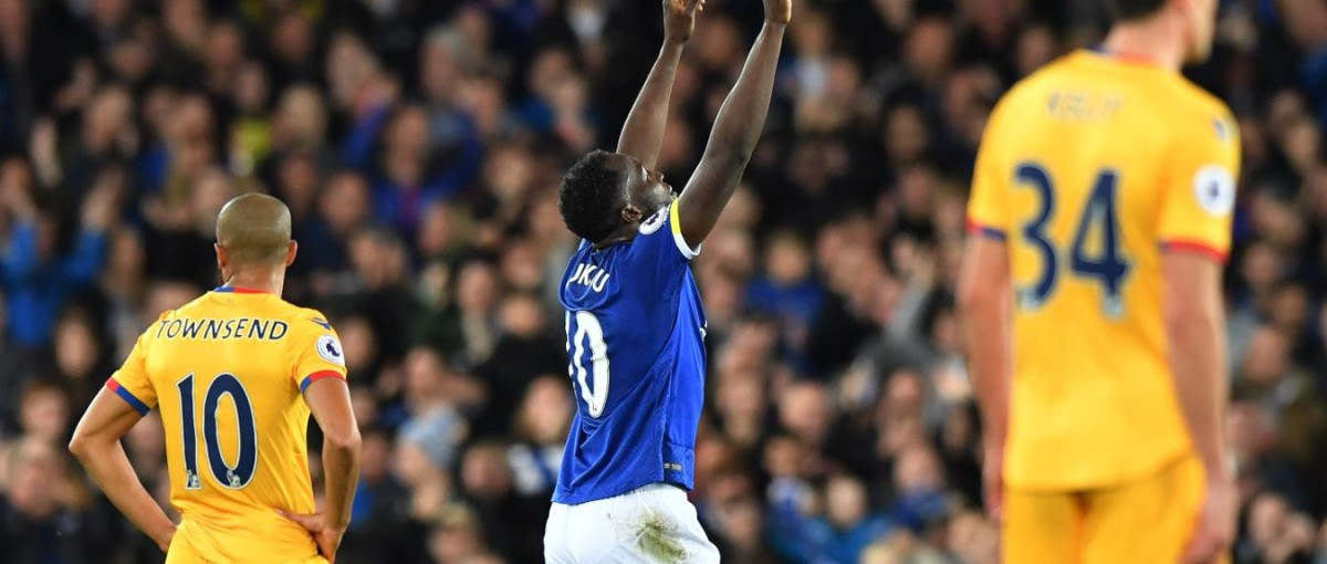 Lukaku celebrates scoring a peach