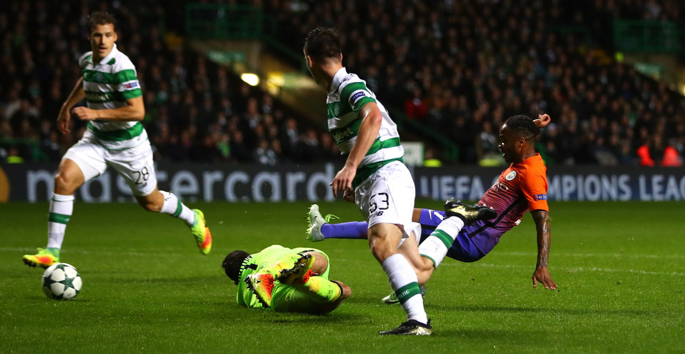GLASGOW, SCOTLAND - SEPTEMBER 28:  Raheem Sterling of Manchester City scores his team's second goal during the UEFA Champions League group C match between Celtic FC and Manchester City FC at Celtic Park on September 28, 2016 in Glasgow, Scotland.  (Photo by Michael Steele/Getty Images)