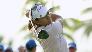 HAINAN ISLAND, CHINA - OCTOBER 20:  Paula Reto of Republic of South Africa tee off at Blue Bay LPGA during Round 1 of Day 1 on October 20, 2016 in Sanya, Hainan Island, China.  (Photo by Kevin Lee/Getty Images)