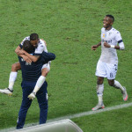 Daine Klate celebrates with Gavin Hunt