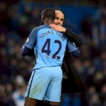 Ex-Manchester City midfielder Yaya Toure and manager Pep Guardiola