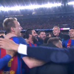 Barca celebrating their comeback victory