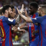 Barcelona celebrate Messi's goal