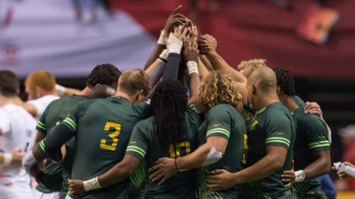 The Blitzboks in a huddle