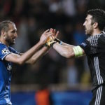 Juventus' Giorgio Chiellini and Gianluigi Buffon