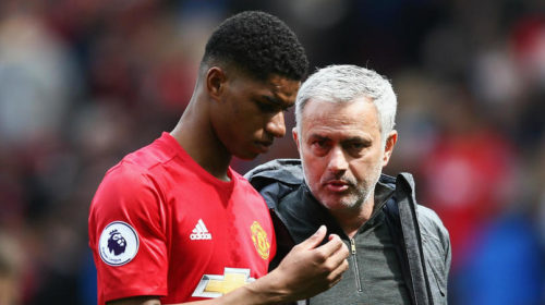 Manchester United's Jose Mourinho and Marcus Rashford