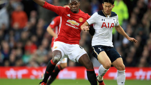 Paul Pogba and Son Heung-Min battles for the ball