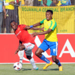 Themba Zwane challenges Lindokuhle Mbatha in the Absa Premiership