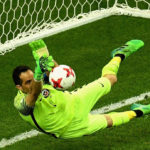 Claudio Bravo of Chile saves Portugal's penalty