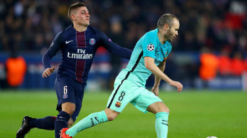 Marco Verratti and Andres Iniesta