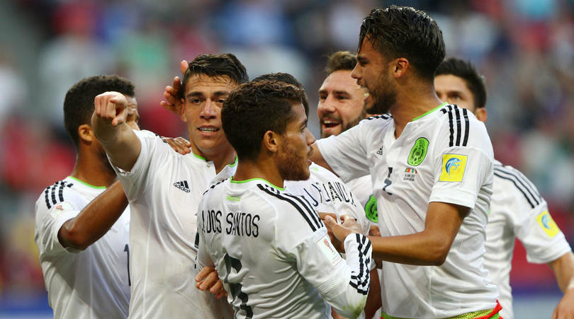 Mexico celebrating Moreno's late equaliser