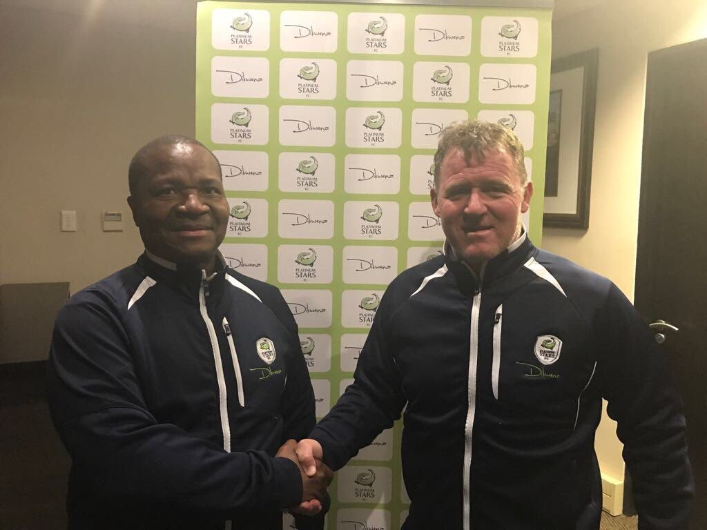 Platinum Stars new coach Peter Butler and our chairman Cliff Ramoroa