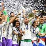 Real Madrid captain Sergio Ramos lifts the UCL trophy