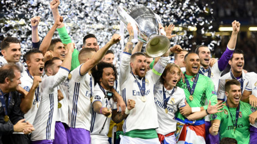 Sergio Ramos lifts the trophy after Real won the UCL final