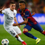 Neymar takes on Marco Verratti