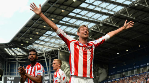 Peter Crouch celebrates his goal against West Brom
