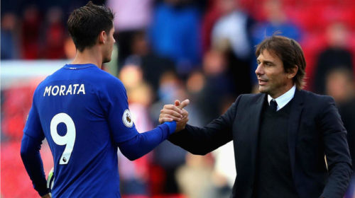 Alvaro Morata and Antonio Conte