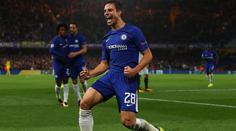 Cesar Azpilicueta celebrates scoring against Qarabag