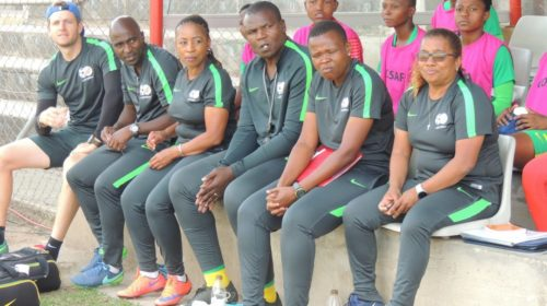 Desiree Ellis with her Banyana Banyana squad