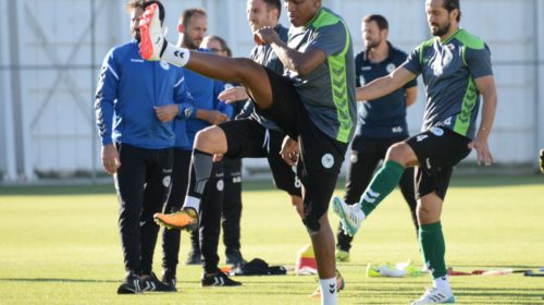 Lebogang Manyama during training at Konyaspor