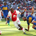Tercious Malepe challenged by Taariq Fielies