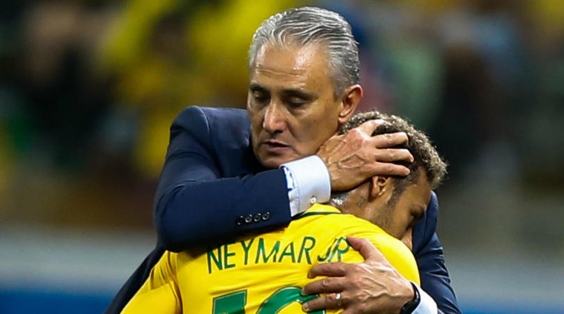 Tite and Neymar of Brazil.