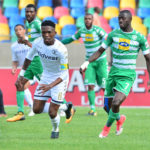 Thabang Monare challenged by Deon Hotto