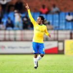 Percy Tau celebrates his goal against Maritzburg United