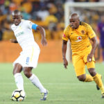 Hlompho Kekana of Mamelodi Sundowns challenged by Willard Katsande of Kaizer Chiefs.
