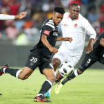 Lyle Foster of Orlando Pirates scores goal while challenged by Thapelo Tshilo of Polokwane City during the Absa Premiership 2017/18 match between Orlando Pirates and Polokwane City at Orlando Stadium, Soweto South Africa on 20 January 2018 ©