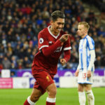 Roberto Firmino celebrates his goal against Huddersfield Town