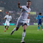Sam Clucas celebrates his goal against Arsenal