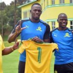 Usain Bolt with Pitso Mosimane and Hlompho Kekana