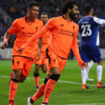Mohamed Salah celebrates scoring the second goal