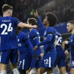 Willian and teammates celebrate Chelsea's opener.