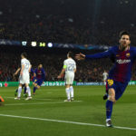 Lionel Messi celebrates his goal against Chelsea
