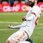 Spain's midfielder Isco Alarcon celebrates after scoring against Argentina during an international friendly.