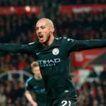 David Silva celebrates his goal against Stoke