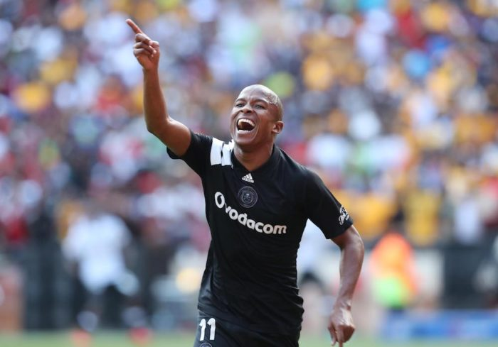 Luvuyo Memela celebrates goal against Kaizer Chiefs