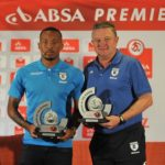 Lehlohonolo Majoro of Bidvest Wits and Gavin Hunt coach of Bidvest Wits.