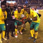 Bafana Bafana players with the Four Nations Tournament trophy.