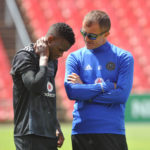 Innocent Maela of Orlando Pirates with head coach Milutin Sredojevic