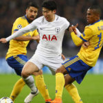 Son Heung-Min battles with Sami Khedira and Douglas Costa