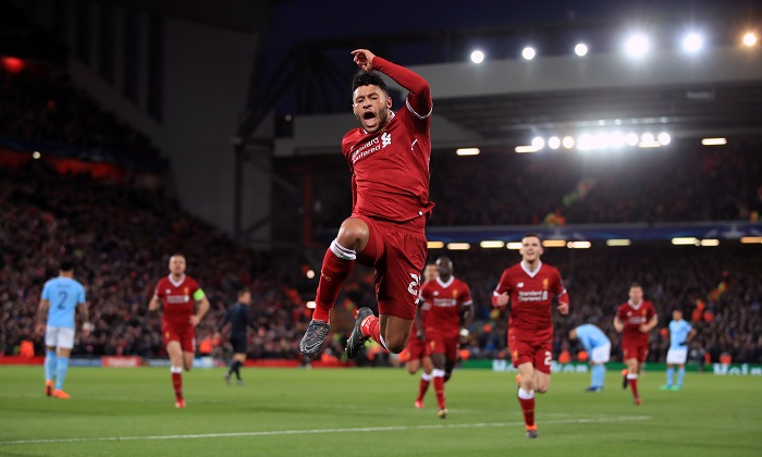 Liverpool's Alex Oxlade-Chamberlain celebrates scoring his side's second goal.